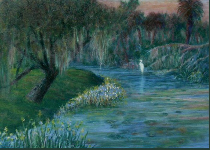 Low Country; Egrets; Lily Pads Greeting Card featuring the painting Evening Shadows by Ben Kiger