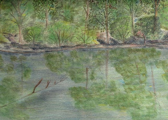 Landscape Greeting Card featuring the drawing Evening Shadows-oconee State Park by Diane Frick