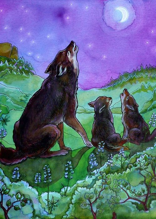 Coyote Greeting Card featuring the painting Make A Joyful Noise by Jill Iversen