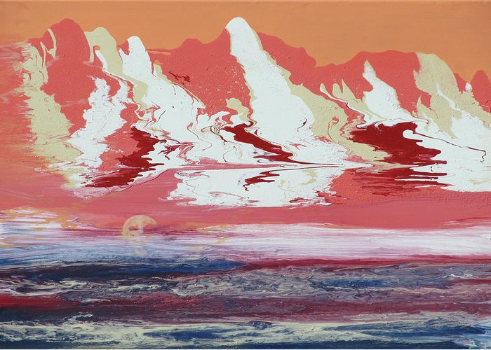 Beach Greeting Card featuring the painting Evening Splendor by Mikki Alhart