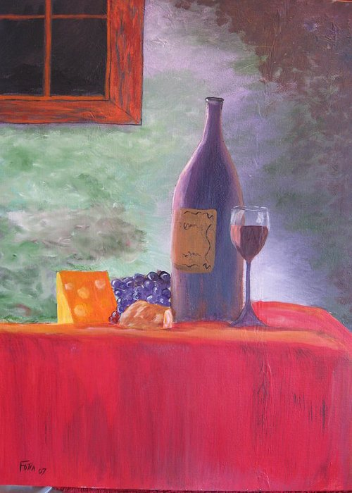 Wine Greeting Card featuring the painting Evening Table by Rich Fotia