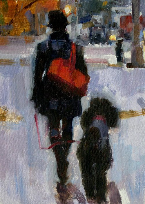 Dogs Greeting Card featuring the painting Evening Walk by Merle Keller