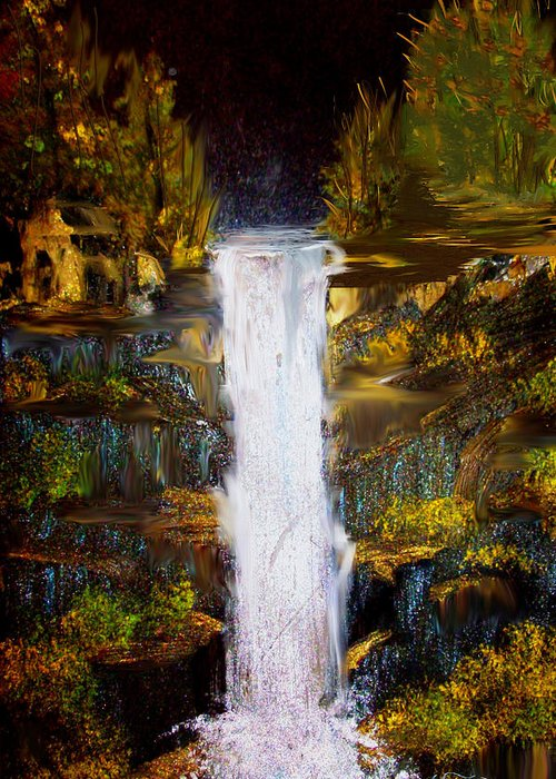 Waterfall Greeting Card featuring the painting Evening Waterfall by Darlene Bell