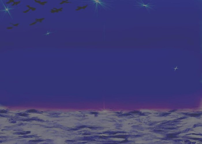 Late Evening.violet Dark Sky.rest.little Stars.last Ray Of Sun.sea.waves.silence. Birds.quiet. Greeting Card featuring the digital art Evening.birds by Dr Loifer Vladimir