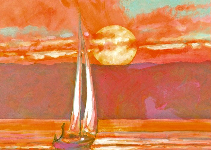 Sailing Greeting Card featuring the painting Eventful Evening 2 by Kip Decker