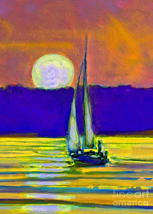 Sailing Moonlight Greeting Card featuring the painting Eventful Evening I by Kip Decker