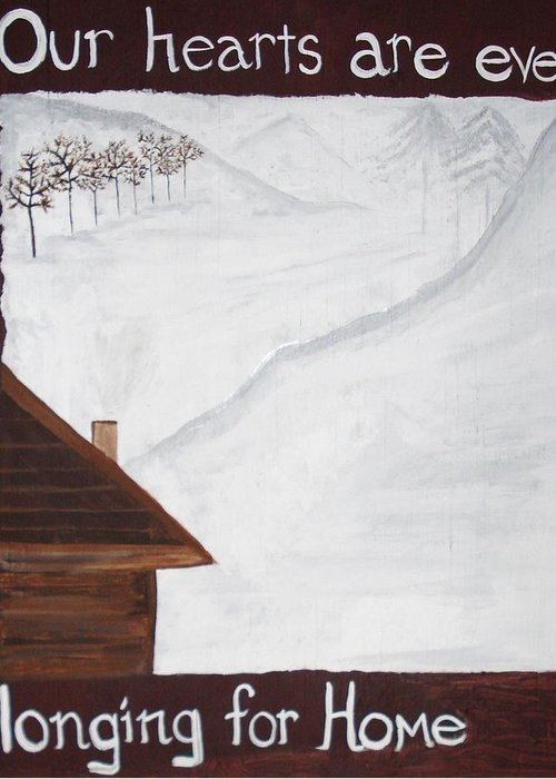 Snow Greeting Card featuring the painting Ever Longing For Home by Marcie Mayo