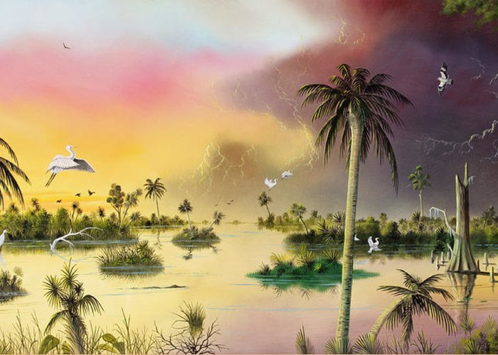 Landscape Greeting Card featuring the painting Everglades by Don Griffiths