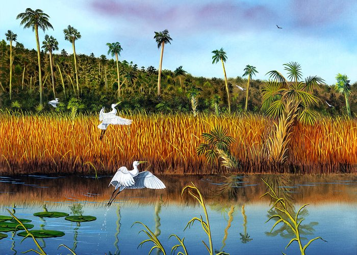 Landscape Greeting Card featuring the painting Everglades Sanctuary by Don Griffiths