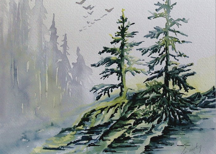 Watercolor Evergreens Greeting Card featuring the painting Evergreens In The Mist by Joanne Smoley