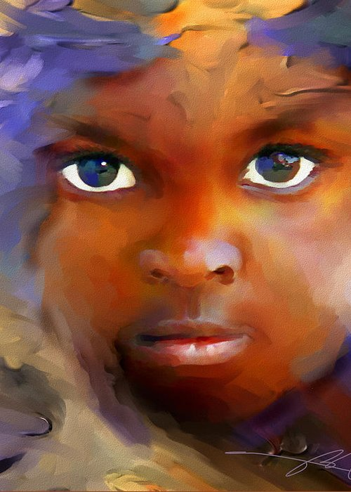 Haiti Greeting Card featuring the painting Every Child by Bob Salo