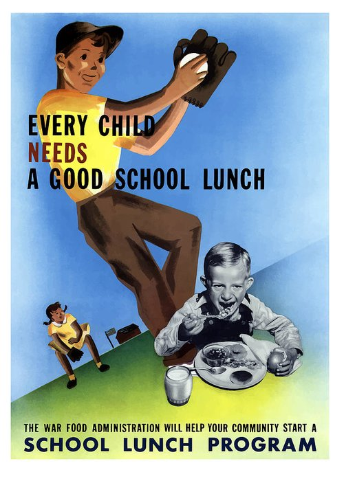 Wwii Greeting Card featuring the digital art Every Child Needs A Good School Lunch by War Is Hell Store