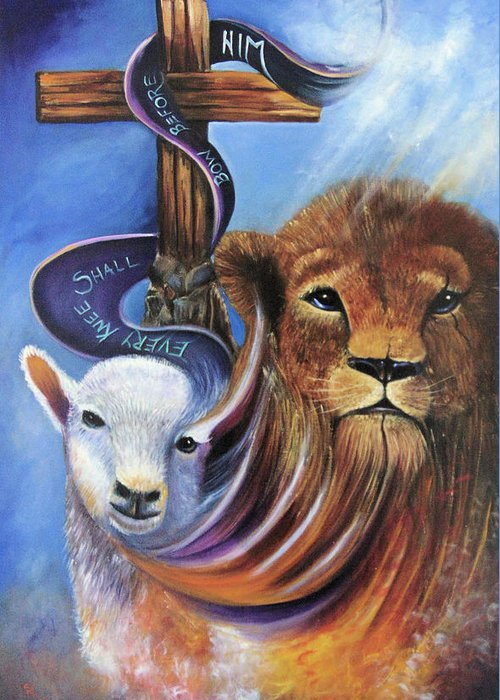 Lion Greeting Card featuring the painting Every Knee Shall Bow by Sue Stake