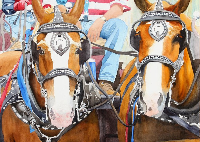 Belgian Greeting Card featuring the painting Everybody Loves A Parade by Ally Benbrook