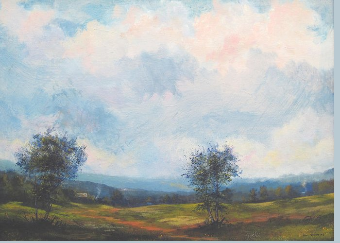 Landscape Greeting Card featuring the painting Everything And The Sky Above by Curt Curt