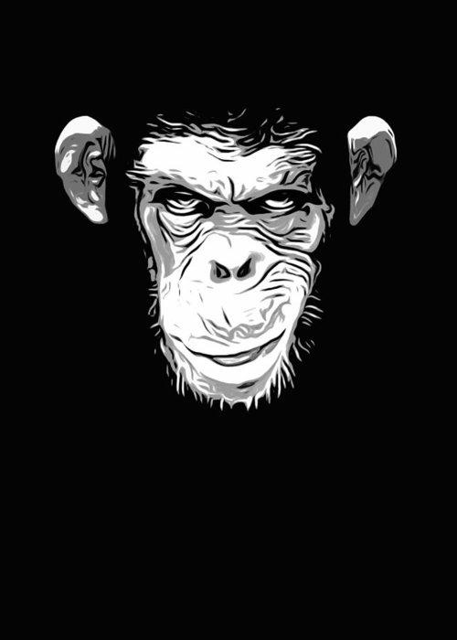Monkey Greeting Card featuring the digital art Evil Monkey by Nicklas Gustafsson
