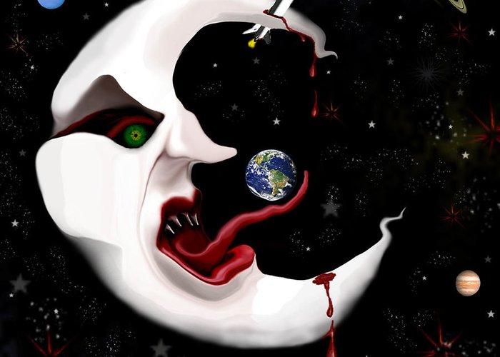 Moon Greeting Card featuring the digital art Evil Moon by Ruben Flanagan
