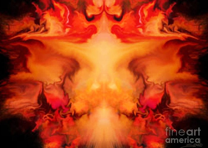 Spano Greeting Card featuring the painting Evil Red Abstract By Spano by Michael Spano