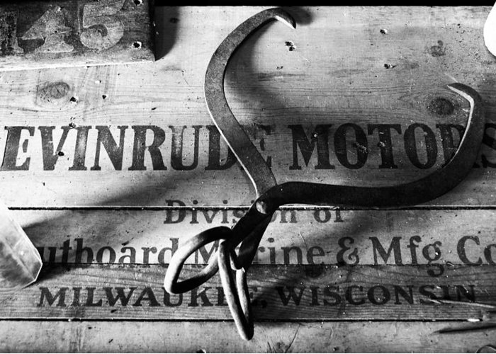 Crate Greeting Card featuring the photograph Evinrude Motors Crate Circa 1940s by David Lee Thompson