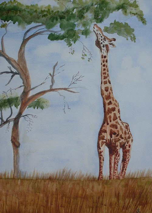 Landscape Giraffe Africa Tree Wildlife Greeting Card featuring the painting Evolution's Early Stretch by Warren Thompson