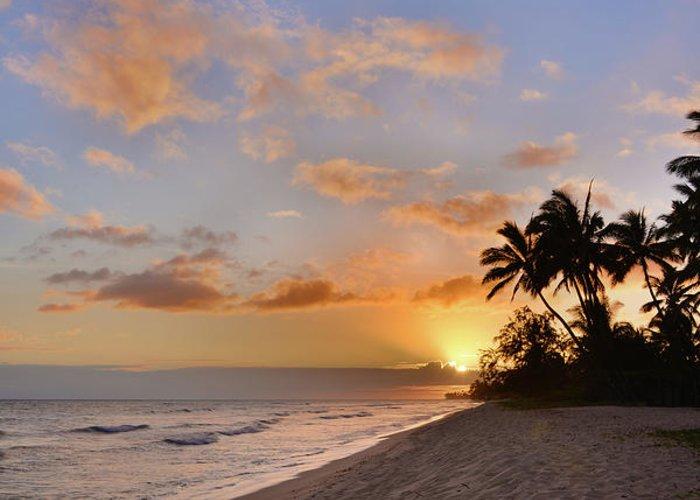 Ewa Beach State Park Palm Tree Sunset Oahu Hawaii Hi Greeting Card featuring the photograph Ewa Beach Sunset 2 - Oahu Hawaii by Brian Harig
