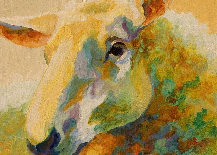 Llama Greeting Card featuring the painting Ewe Portrait IIi by Marion Rose