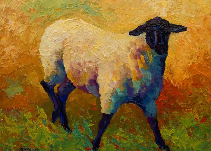 Sheep Greeting Card featuring the painting Ewe Portrait Iv by Marion Rose