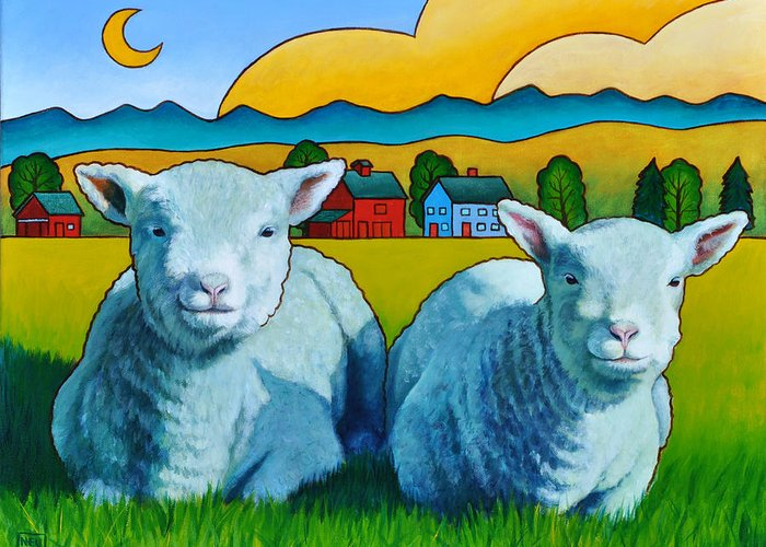 Ewe Greeting Card featuring the painting Ewe Two by Stacey Neumiller