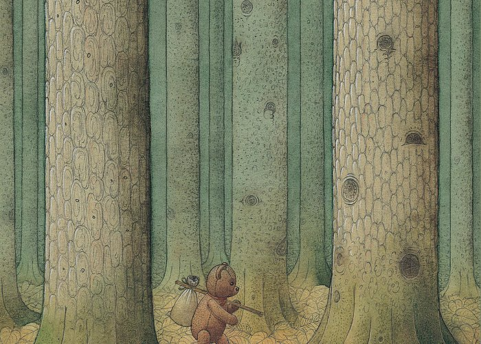 Teddybear Autumn Forest Fairy Tale Tree Melancholic Greeting Card featuring the painting Exile by Kestutis Kasparavicius