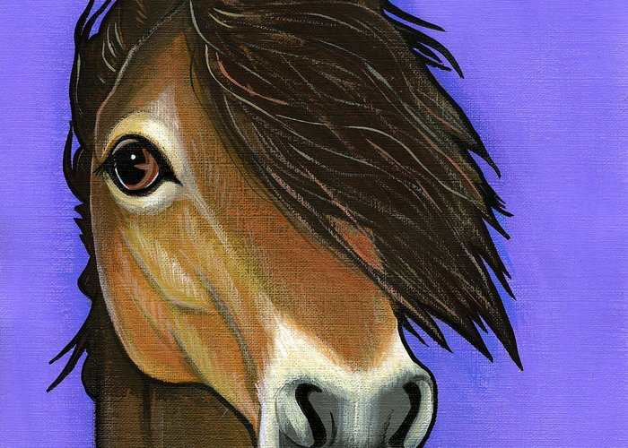 Exmoor Pony Greeting Card featuring the painting Exmoor Pony by Leanne Wilkes