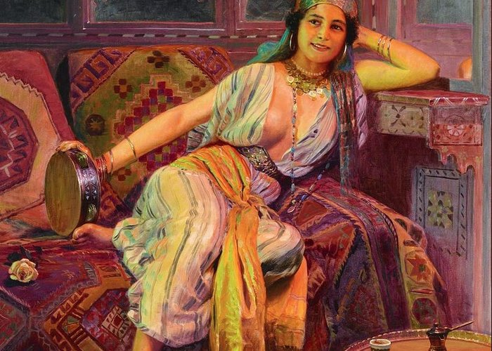 Pd Greeting Card featuring the painting Exotic Beauty by Pg Reproductions