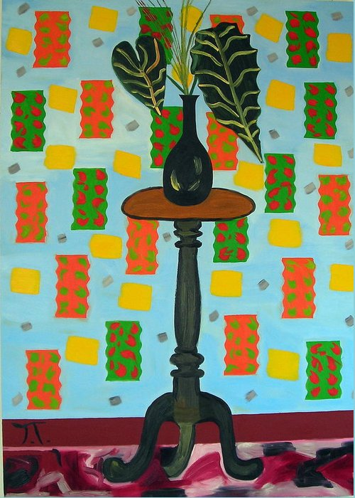 Tropical Plant Greeting Card featuring the painting Exotic Plant On Stand by Troy Thomas