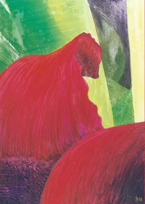 Red Greeting Card featuring the painting Expectations by Ingela Christina Rahm