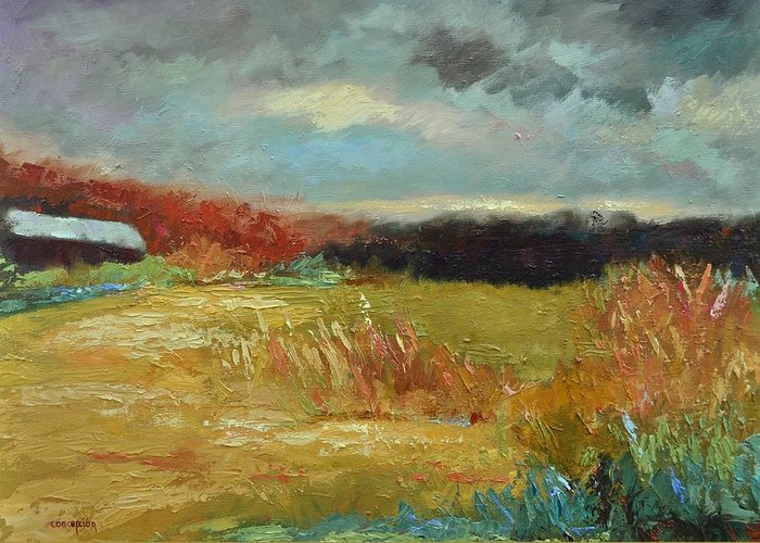 Stormy Landscapes Greeting Card featuring the painting Expecting a Storm by Ginger Concepcion