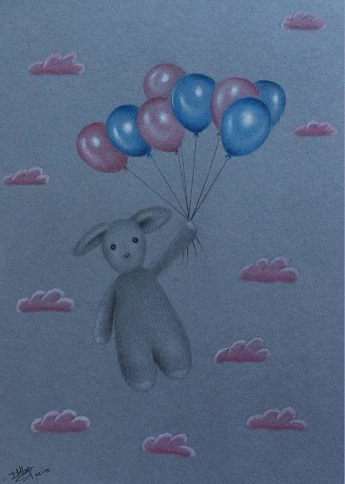 Pastels Greeting Card featuring the drawing Expecting by Denise Nijs