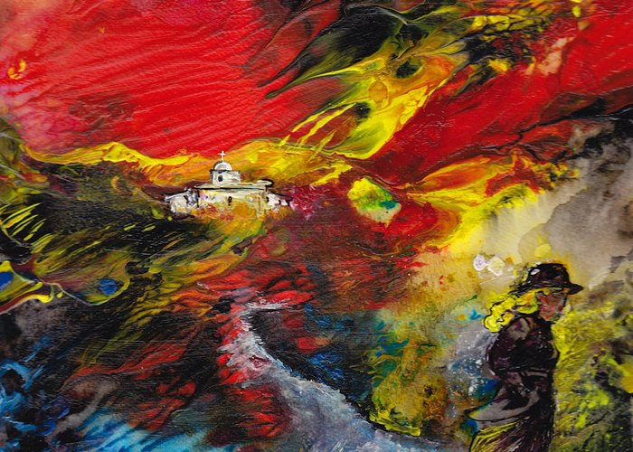 Impressionism Greeting Card featuring the painting Expelled From The Land by Miki De Goodaboom