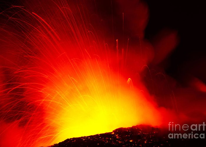Active Greeting Card featuring the photograph Exploding Lava At Night by Peter French - Printscapes