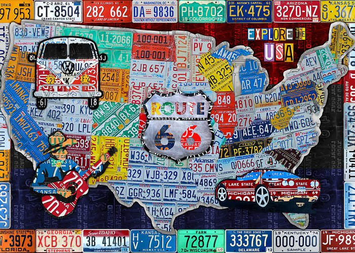 Explore The Usa License Plate Art And Map Travel Collage Greeting ...