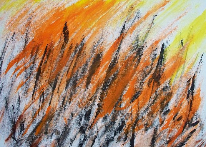 Abstract Greeting Card featuring the painting Expression 939 by Rod Schneider