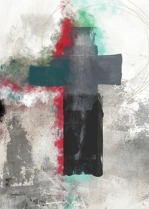 Cross Greeting Card featuring the mixed media Expressionist Cross 4- Art By Linda Woods by Linda Woods