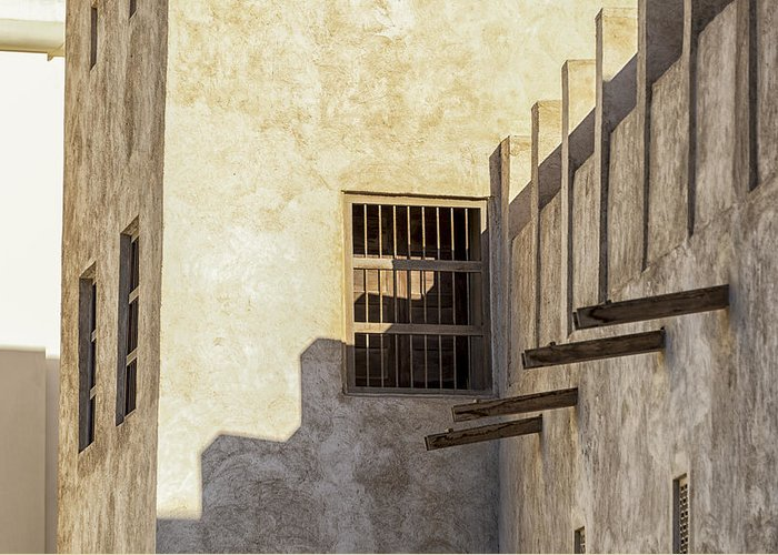Adobe Greeting Card featuring the photograph Exterior Of Isa Bin Ali House, Bahrain. by John Grummitt