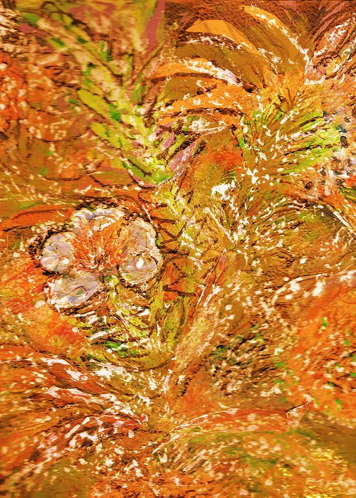 Orange Greeting Card featuring the painting Extravaganza Orange by Anne-Elizabeth Whiteway