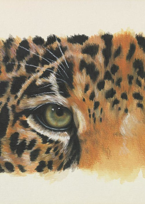 Jaguar Greeting Card featuring the painting Eye-catching Jaguar by Barbara Keith