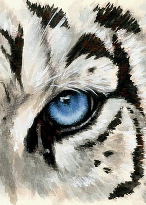 Big Cat Greeting Card featuring the painting Royal White Tiger Gaze by Barbara Keith