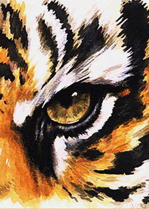 Feline Greeting Card featuring the mixed media Sumatran Tiger Glare by Barbara Keith