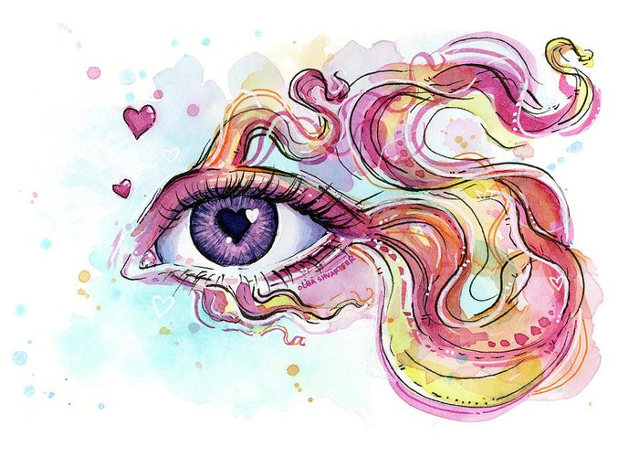 Eyelash Paintings Greeting Cards