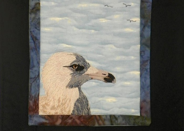 Birds Greeting Card featuring the tapestry - textile Eye Of The Gull by Jenny Williams