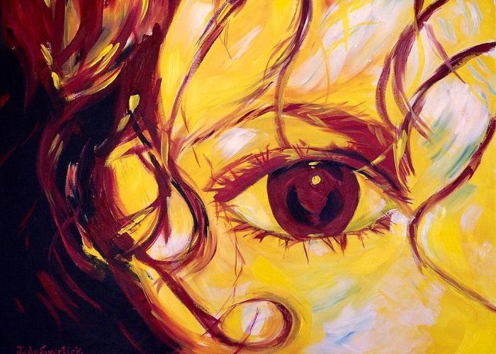 Portrait Greeting Card featuring the painting Eye of the Tiger by Judy Swerlick