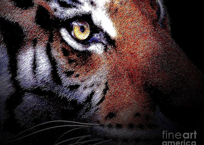 Tiger Greeting Card featuring the digital art Eye Of The Tiger by Wingsdomain Art and Photography