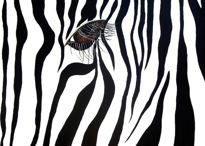 Zebra Greeting Card featuring the painting Eye Spy by Sharon Supplee